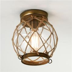 Jute Rope Lattice & Glass Globe Ceiling Light