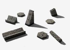 Basalt desk accessories by Jeonghwa Seo originate from a Korean island.