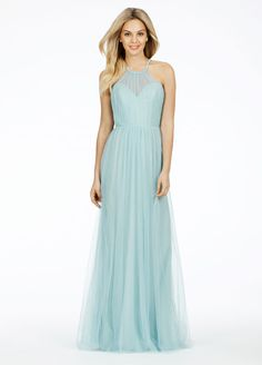 Sky Blue English net A-line bridesmaid gown with a sheer halter sweetheart neckline Alvina Maids Bridesmaids Dresses - JLM Couture - Bridesmaids and Special Occasion Style AV9472 by JLM Couture, Inc.