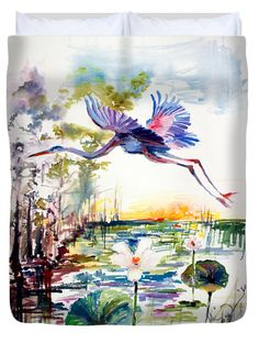 #Blue #Heron Glides over #Lotus #Flowers #Floral #Waterscape #Sunrise #Queen #Duvet #Cover by #Fine #Art #Artist #GinetteCallaway #Ginette #Callaway.  Available in king, queen, full, and twin.  Our soft microfiber duvet covers are hand sewn and include a hidden zipper for easy washing and assembly.  Your selected image is printed on the top surface with a soft white surface underneath.  All duvet covers are machine washable with cold water and a mild detergent.