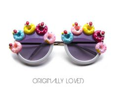 ae361063a6 DONUT Embellished White Round Frame Sunglasses With Dark Lenses - Great For  FESTIVALS