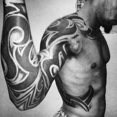 125 Tribal Tattoos For Men: With Meanings & Tips - Wild Tattoo Art Tribal Tattoos For Men, Tribal Sleeve Tattoos, Black Ink Tattoos, Best Sleeve Tattoos, Tattoos For Guys, Mens Tattoos, Tatoos, Mens Full Sleeve Tattoo, Full Sleeve Tattoo Design