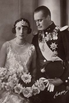 Crown Prince Olav of Norway and fianceé, Princess Martha of Sweden  Parents of King Harald V of Norway.  The marriage was happy,but Märtha died of cancer in Oslo in 1954. Her death came little more than three years before her husband ascended the throne as king