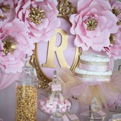 Pink and gold baby shower for princess Riley | CatchMyParty.com