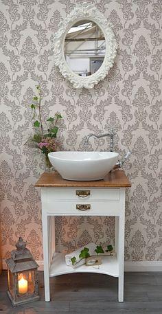 """""""Argos"""" nostalgischer Gästewaschtisch von Badmöbel Landhaus, Land und Liebe Vintage Bathroom Vanities, Small Bathroom Decor, Modern Bathroom, Bathroom Decor, Wooden Vanity, Amazing Bathrooms, Small Bathroom Remodel Designs, Elegant Bathroom, Rustic Bathroom Vanities"""