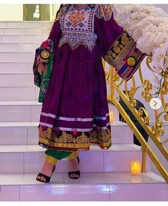 Image may contain: one or more people and people standing Afghan Clothes, Afghan Dresses, Unique Dresses, Stylish Dresses, Afghan Girl, Boho Fashion, Fashion Outfits, Folk Costume, Western Outfits