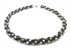 Silver Gold and Black Kumihimo Necklace by kiddercreations on Etsy, $52.00