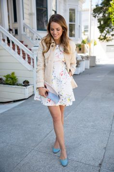 Gal Meets Glam- Paint Splatter Dress: I really love her jacket! It's such a cozy touch over a summery outfit.