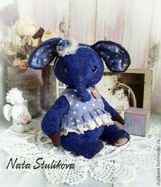 Купить Тедди слоник синий - тёмно-синий, синий слон тедди, синий слоник тедди
