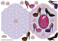 Girls love shoes quick card on Craftsuprint designed by Sandra Carlse - This is a very modern card which is so quick