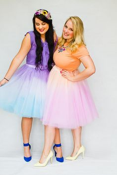 Learn how to dip dye these tulle skirts to create a two tone ombre skirt! We've gone pastel with pink, orange, purple and blue, you can also find this DIY in Rock n Roll Bride Magazine!