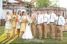 Love the guys without jackets, just a jacket for the groom.  (gorgeous wedding at the cotton gin, courtney dellafiora photographer)