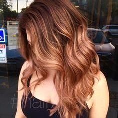 Rose gold balayge with warm brown base