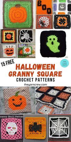 Halloween Crochet Patterns, Crochet Cat Pattern, Granny Square Crochet Pattern, Crochet Granny, Crochet Blanket Patterns, Crochet Motif, Crochet Designs, Crochet Lovey, Crochet Blankets
