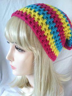 Crochet Slouch Beanie Magenta Teal & Yellow by ScarletsCorner, $20.00