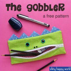 Gobbler - free pencil case pattern