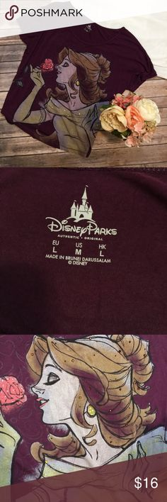 Embellished Belle Disney Parks Maroon Shirt Size M Great used condition and super cute for a Disney fanatic! Embellished with rhinestones throughout. It is a very large/baggy size medium. Disney Tops Blouses