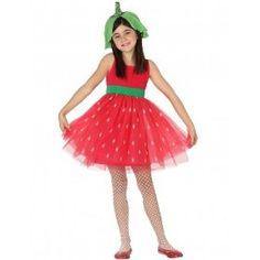 Tolles Kostüm / Atosa 28176 - Erdbeere, Mädchen, Größe 104, rot/grün