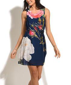 Navy Floral Belted A-Line Dress