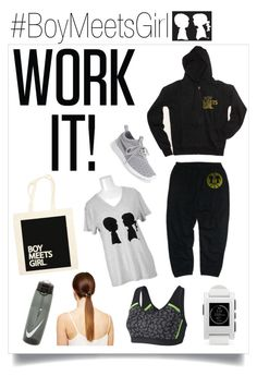 """ W - O - R - K"" by boymeetsgirlusa ❤ liked on Polyvore featuring Boy Meets Girl, NIKE, Zella, Pebble, women's clothing, women, female, woman, misses and juniors"