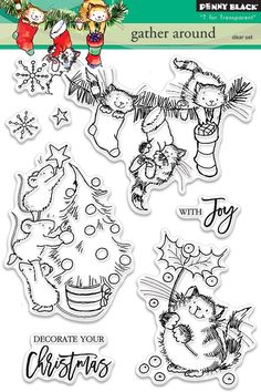 Penny Black Gather Around - Clear Stamp. Christmas themed Penny Black clear stamps featuring mice decorating a Christmas tree, cats hanging stockings, and more! Penny Black Karten, Penny Black Cards, Black Christmas, Christmas Cats, Christmas Holiday, Holiday Cards, Xmas, Christmas Ornaments, Whimsy Stamps
