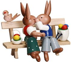 Cute Miniature of Bunny Couple on Bench with Basket and Bird 3 Inch German Christmas, Old Christmas, Wooden Hand, Handmade Wooden, Hoppy Easter, Easter Bunny, Sweet Little Things, Wooden Figurines, Easter Traditions