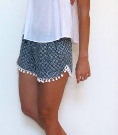 55d3d87860b6 Pom Pom Shorts - Navy and White Daisy Print with Large White Pom Pom s