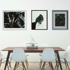 How to decorate your dining room? Create a gallery wall! If you are fond of modern or Scandinavian style, check out this printable set with modern nature-inspired motive and minimal dark green color palette. #gallerywall #gallerywallart #gallerywalldecor #printables #scandi #kacixart