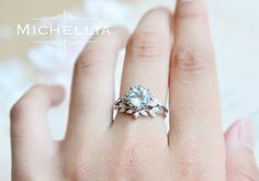 Aquamarine Floral Engagement Ring 14K 18K Gold by MichelliaDesigns