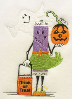 """""""Halloween Spoolie""""  machine embroidery designed by Joyce Drexler for Sulky Embroidery Club, custom digitized by Lindee Goodall, Lindee G Embroidery. See it here: http://www.sulkyembclub.com/detail.aspx?id=873&cid=2&scid=18"""