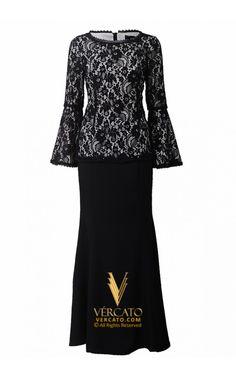 Baju Kurung Moden Lace Bell Sleeves - Vercato Miranda in Black