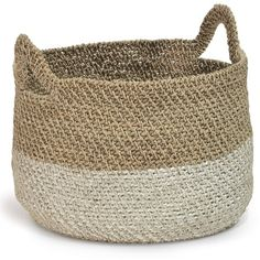 Palecek Bolinas Rope Basket ($372) ❤ liked on Polyvore featuring home, home decor, small item storage, palecek baskets, rope basket, inspirational home decor, white basket and palecek