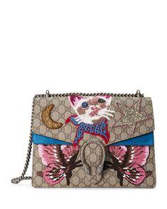 L0P5S Gucci Dionysus Embroidered Shoulder Bag, Beige/Ebony/Blue