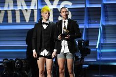 Josh Dun, left, and Tyler Joseph of Twenty One Pilots stripped down to their underwear to accept their first Grammy. (Kevork Djansezian / Getty Images)