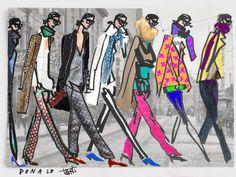 Collaboration with Donald Robertson. Drawbertson & tddbrtn, Jenna Lyons drawn by Donald, digi-styled by Todd.