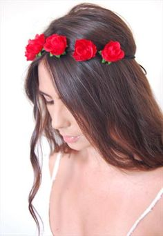 Small Red Rose Flower Crown Floral Headband Headpiece Halo