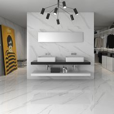 Statuary high gloss white floor tiles come in two sizes including this extra large 75 cms x 75 cms tile. this contemporary white tile has a marble effect design and come with a PEI4 rating making it suitable for stylish domestic or commercial environments.
