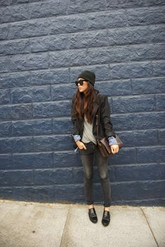 thrifted blazer, Civilianaire tee, Genetic Denim skinny, Zara bags and flats, Céline sunglasses