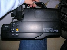 VHS video camera!...Think it was big enough? I had this same camera... you had to balance it on your shoulder. The little ones we have now are so much better....
