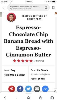Get Espresso-Chocolate Chip Banana Bread with Espresso-Cinnamon Butter Recipe from Food Network Cinnamon Butter, Cinnamon Coffee, Espresso Powder, Chocolate Chip Banana Bread, Butter Recipe, Brown Butter, Food Network Recipes, Chips, Mom