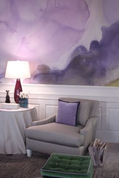Watercolor wallpaper accent pillow and lamp
