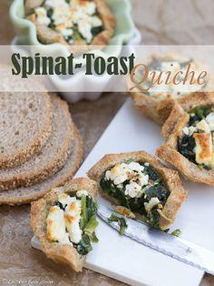 Mini-Toast-Quiche mit Spinat und Schafskäse