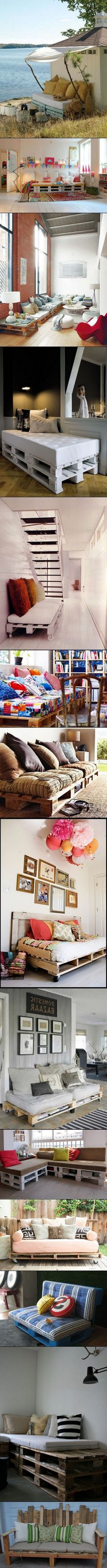 DIY Palette Home Decor - primeira imagem é linda demais. Só fico pensando nestas idéias com paletes - para limpar embaixo deve ser muito chato. Pallet Sofa, Pallet Furniture, Pallet Seating, Pallet Benches, Pallet Tables, Outdoor Furniture, Decor Crafts, Diy Home Decor, Diy Crafts