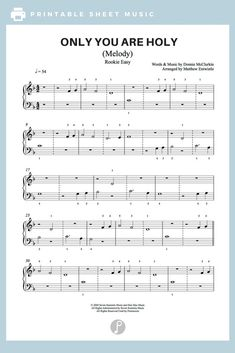 Only You Are Holy by Donnie McClurkin Piano Sheet Music | Rookie Easy Level