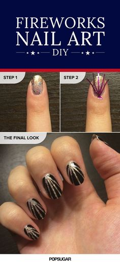 This glittery, fireworks nail art tutorial is so easy — all you need to DIY is glittery polish, striping tape, and an opaque color of your choice. (We suggest black polish.) Have a blast re-creating this look!