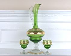 Green Glass Decanter and Cups with Gold Trim by BlackMagicEmporium, $30.00 #dteam