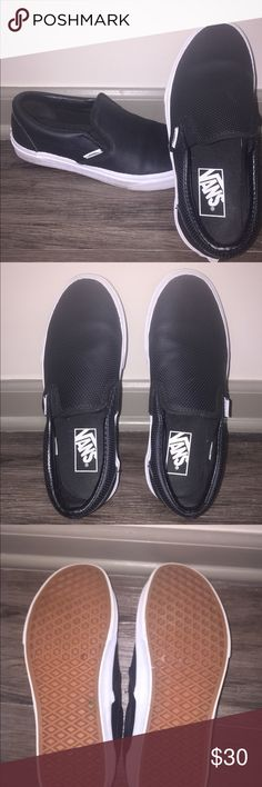 Shop Women s Vans Black size 7 Sneakers at a discounted price at Poshmark.  Description  Black leather slip on vans. 3900c7970