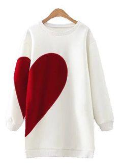 White Long Sleeve Round Neck Heart Print Sweatshirt
