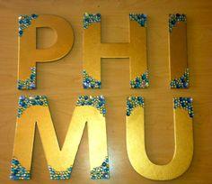 Phi Mu Gold & Gem Wooden Sorority Letters