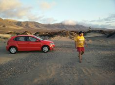 Red Car and Yellow Guy